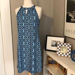 Jude Connally Lisa Dress S NEW Geometric Navy Blue